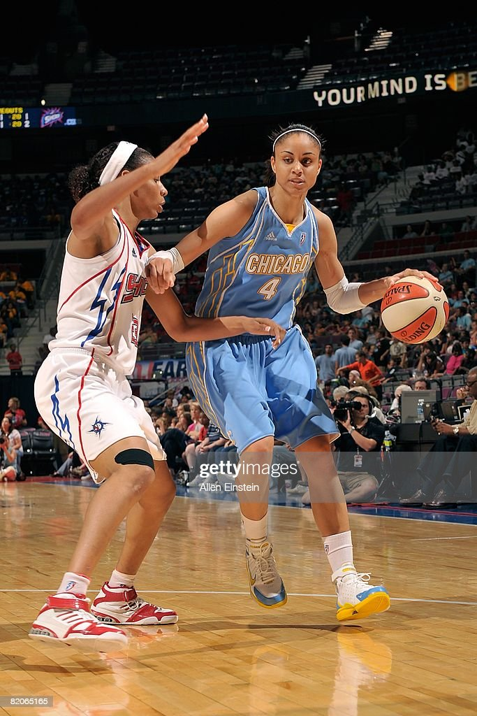 Candice Dupree of the Chicago Sky maneuvers against Plenette Pierson of the Detroit Shock during the WNBA game on July 16 2008 at The Palace of...