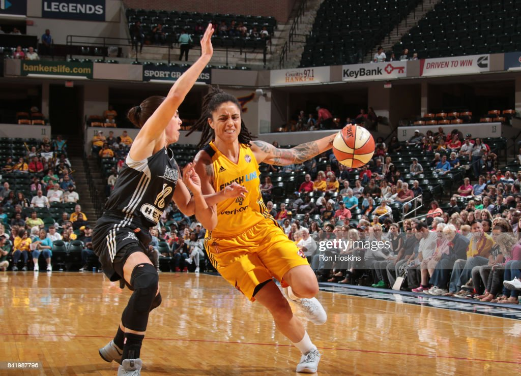Candice Dupree #4 of the Indiana Fever handles the ball against the San Antonio Stars on September 2, 2017 at Bankers Life Fieldhouse in Indianapolis, Indiana.
