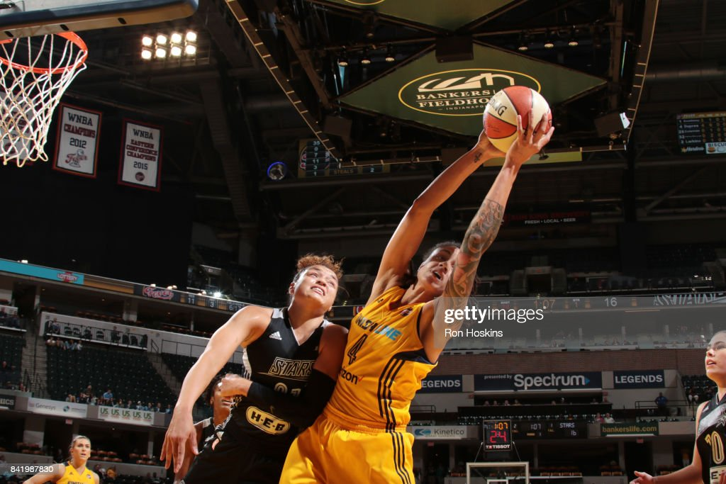 Candice Dupree #4 of the Indiana Fever shoots the ball against the San Antonio Stars on September 2, 2017 at Bankers Life Fieldhouse in Indianapolis, Indiana.