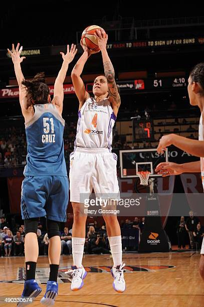 Candice Dupree of the Phoenix Mercury shoots the ball against the Minnesota Lynx during the WNBA Playoffs Western Conference Finals Game 2 on...