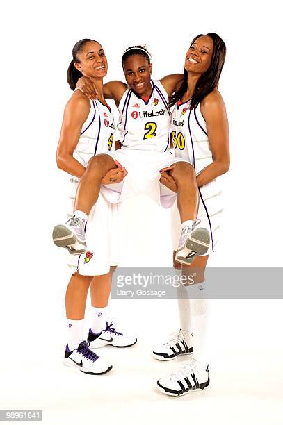 Candice Dupree Temeka Johnson and Tangela Smith of the Phoenix Mercury pose for a photo during the Phoenix Mercury Media Day on May 10 2010 at US...