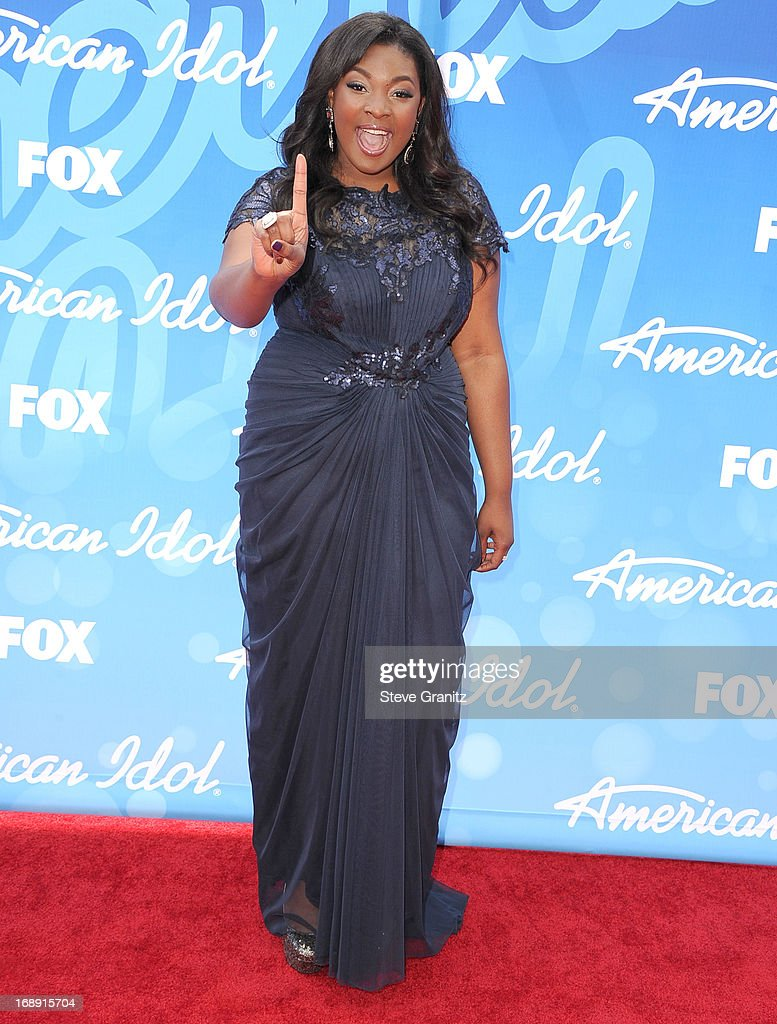 Candice Glover arrives at the FOX's 'American Idol' Grand Finale at Nokia Theatre LA Live on May 16 2013 in Los Angeles California