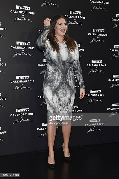 Candice Huffine attends the 2015 Pirelli Calendar Press Conference on November 18 2014 in Milan Italy