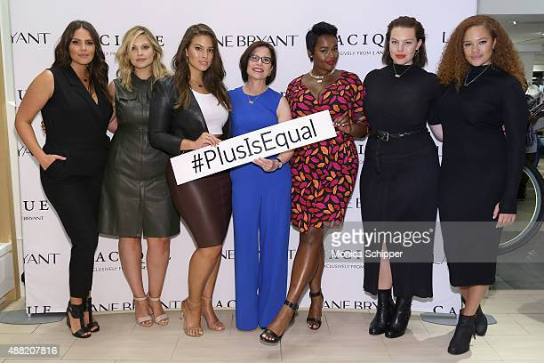 Candice Huffine Justine Legault Ashley Graham Linda Heasley Precious Lee Georgia Pratt and Sabina Karlsson attend the Lane Bryant launch of the...