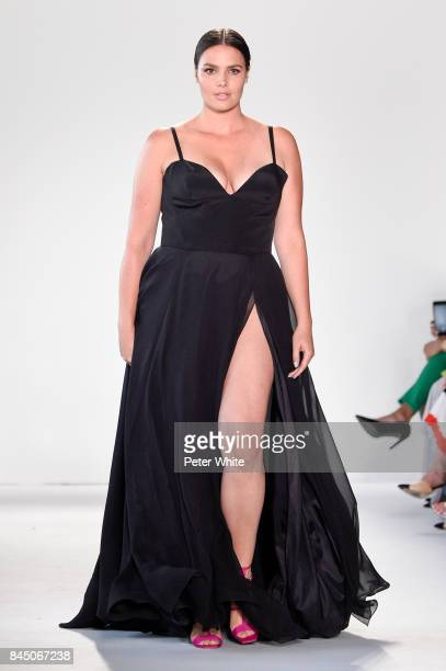 Candice Huffine walks the runway at the Christian Siriano fashion show during New York Fashion Week The Shows at Pier 59 on September 9 2017 in New...