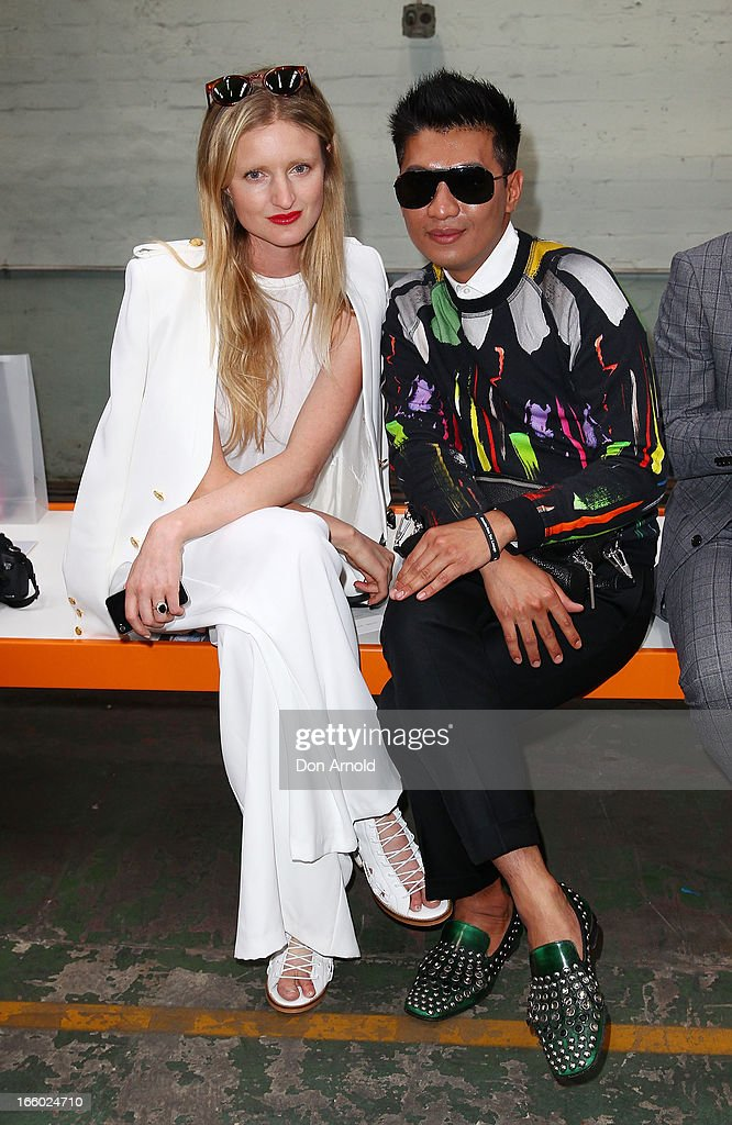 Candice Lake and Bryanboy pose prior to the Christopher Esber show during Mercedes-Benz Fashion Week Australia Spring/Summer 2013/14 in Marrickville on April 8, 2013 in Sydney, Australia.