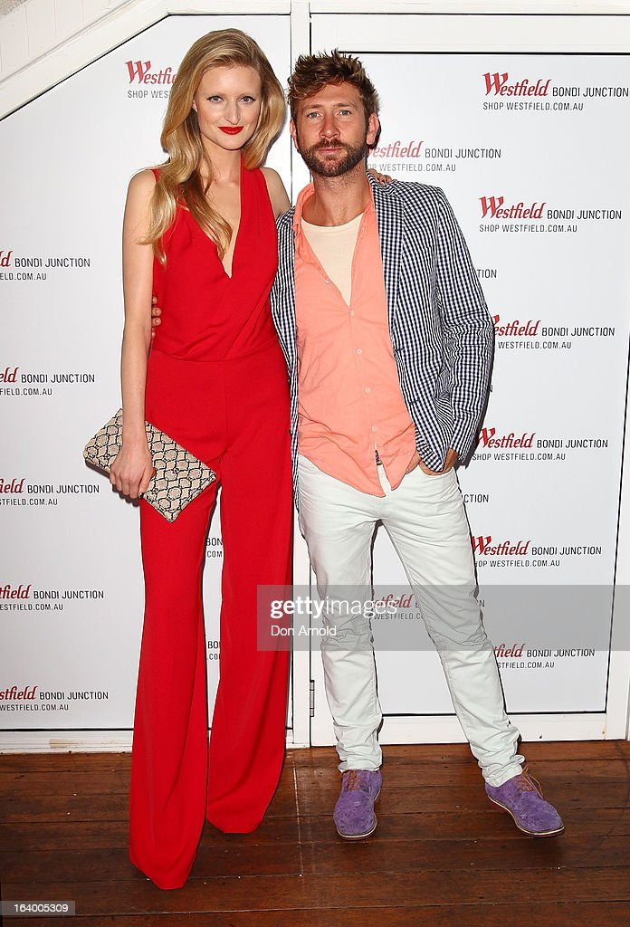 Candice Lake and Daimon Downey pose at the Westfield Autumn/Winter 2013 launch at Pelicano Bar on March 19, 2013 in Sydney, Australia.