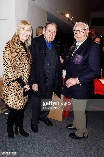 Candice Patou Robert Hossein and Pierre Cardin attend has the signature of the book 'Espace Cardin' by JeanPascal Hesse at Espace Pierre Cardin on...