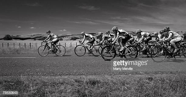 Candice Sullivan of Australia leads the Peloton down the long straight into Gladstone during stage three the Gladstone circuits on day three of the...