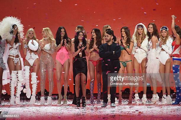Candice Swanepoel Adriana Lima Behati Prinsloo Romee Strijd Alessandra Ambrosio Kate Grigorieva singer Selena Gomez Lily Aldridge and singer The...