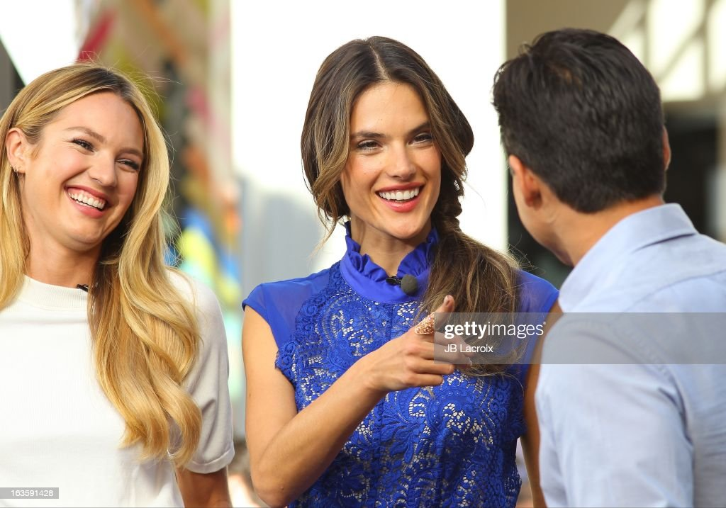Candice Swanepoel, Alessandra Ambrosio and Mario Lopez are seen at The Grove on March 12, 2013 in Los Angeles, California.