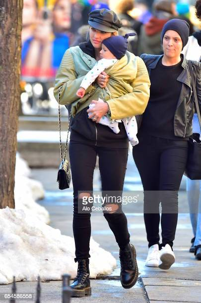Candice Swanepoel and Anaca Nicoli are seen in the East Village on March 17 2017 in New York City