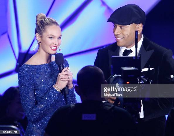 Candice Swanepoel and LL Cool J speak at the GRAMMY Nominations Concert Live held at Nokia Theatre LA Live on December 6 2013 in Los Angeles...
