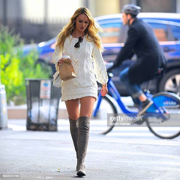 Candice Swanepoel grabs breakfast after leaving the Today's Show on December 7 2015 in New York City