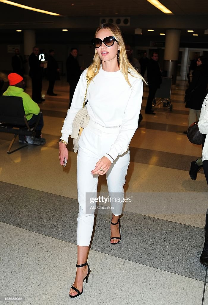 Candice Swanepoel is seen at JFK Airport on March 13, 2013 in New York City.