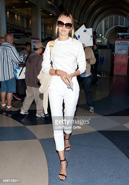Candice Swanepoel is seen at Los Angeles International Airport on March 13 2013 in Los Angeles California