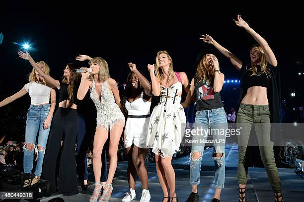 Candice Swanepoel Lily Aldridge Taylor Swift Uzo Aduba Karlie Kloss Behati Prinsloo and Gigi Hadid onstage during The 1989 World Tour Live at MetLife...