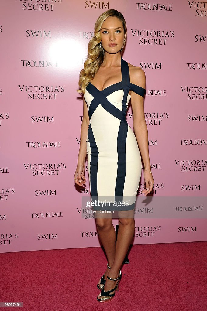 Candice Swanepoel poses for a picture at the 15th Anniversary of Victoria's Secret SWIM catalogue held at Trousdale on March 25, 2010 in Los Angeles, California.