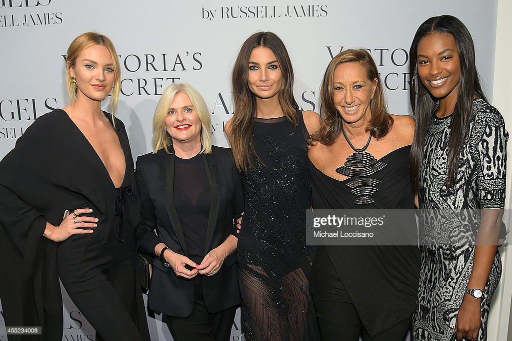 Candice Swanepoel Victoria's Secret CEO Sharen Turney Lily Aldridge designer Donna Karan and Sharam Diniz attend Russell James' 'Angels' book launch...