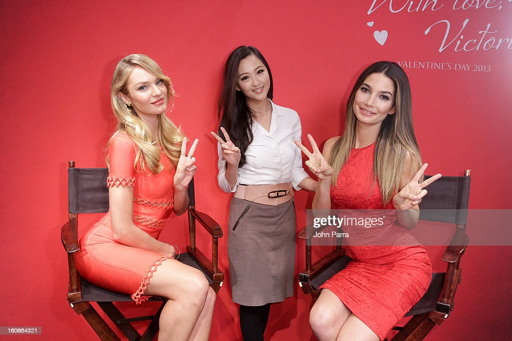 Candice Swanepoel,VS fan and Lily Aldridge attend Victoria's Secret Angels celebrate Valentine's Day with fans at Victoria's Secret, Herald Square on February 6, 2013 in New York City.