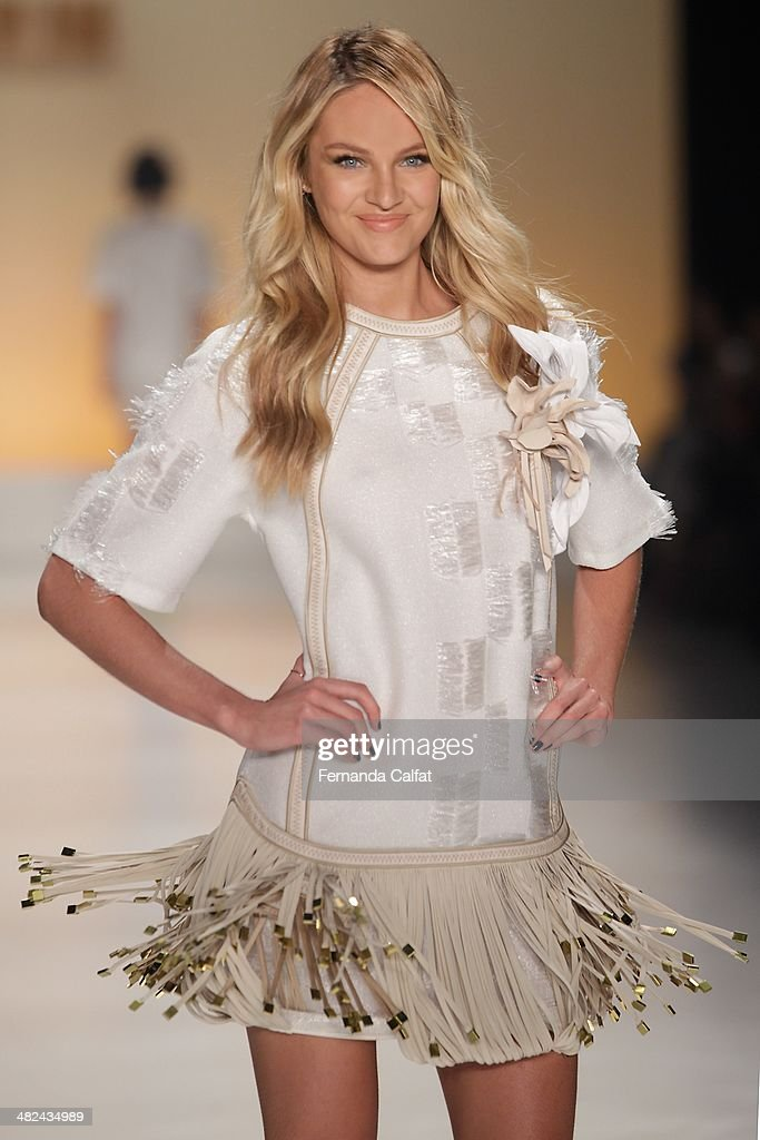 Candice Swanpoel walks the runway during the Forum show at Sao Paulo Fashion Week Summer 2014/2015 at Parque Candido Portinari on April 3, 2014 in Sao Paulo, Brazil.