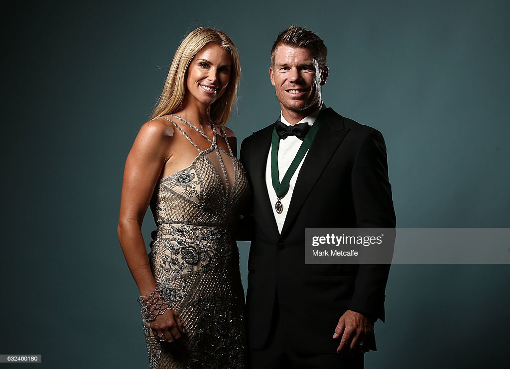 Candice Warner and David Warner pose after winning the Allan Border Medal during the 2017 Allan Border Medal at The Star on January 23, 2017 in Sydney, Australia.