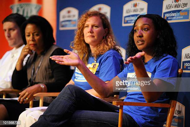 Candice Wiggins right of the Minnesota Lynx speaks along with Meningococcal Meningitis survivor John Kach Society of Adolescent Health and Medicine...