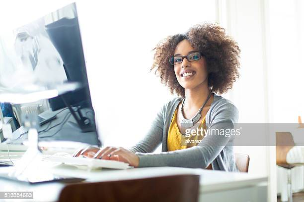 Candid portrait of a young women working