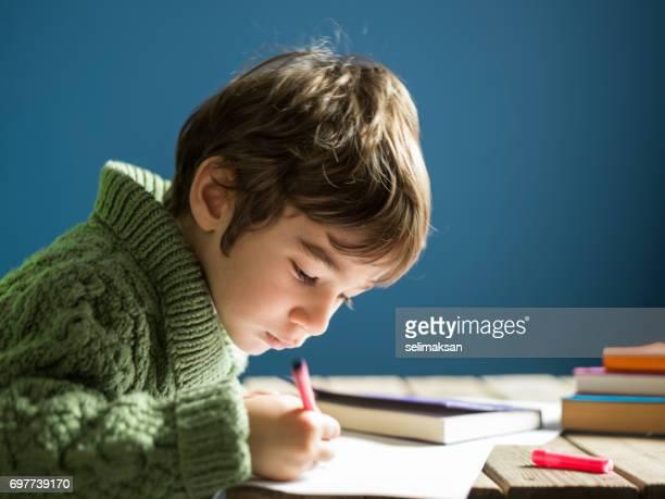 Candid portrait Of Little Boy Writing On Blank Paper On Desk