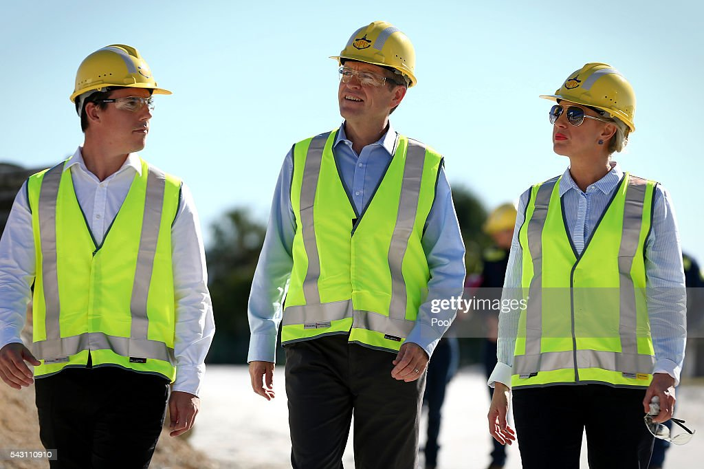ALP candidate for Flynn, Zac Beers, Opposition Leader Bill Shorten and Chloe Shorten during a visit to the Gladstone Ports Corporation's Auckland Point Terminal, on June 26, 2016 in Gladstone, Queensland. Shorten continues to campaign leading up to the July 2nd elections. (Photo by Alex Ellinghausen-Pool/Getty Images