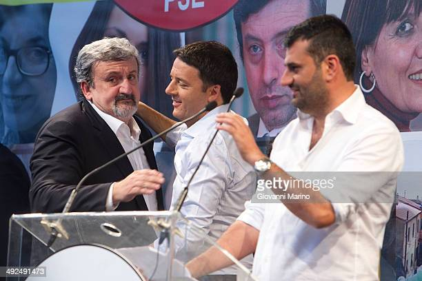 Candidate for Mayor Antonio Decaro makes a speech at Piazza Alberto Sordi during a campaign meeting of the Democratic Party on May 20 2014 in Bari...