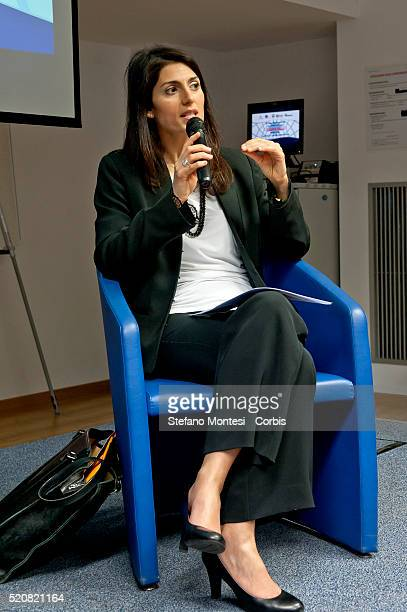 Candidate for mayor of Rome Virginia Raggi speaks at a handicraft business to promote her plans for the city of Rome on April 11 2016 in Rome Italy...