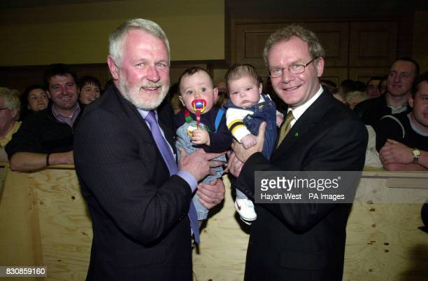 Candidate for North Kerry for Sinn Fein Martin Ferris and Education minister for the Northern Ireland assembly Martin McGuinness holding babies at...