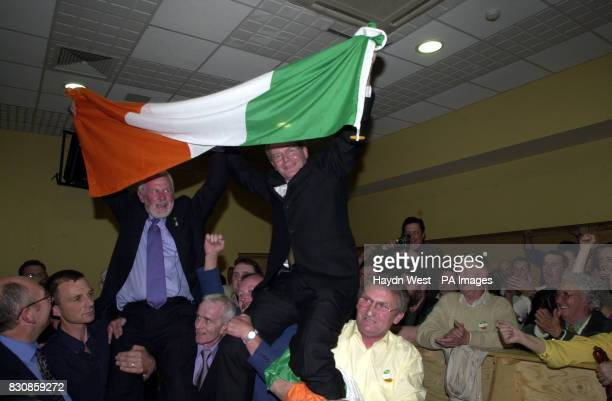 Candidate for North Kerry for Sinn Fein Martin Ferris celebrates almost certain victory after topping the poll in the first count at the Brandon...