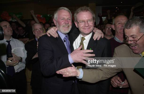 Candidate for North Kerry for Sinn Fein Martin Ferris is congratulated by Martin McGuinness Education minister for the Northern Ireland assembly at...