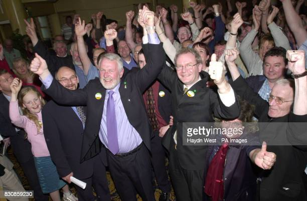 Candidate for North Kerry for Sinn Fein Martin Ferris is greeted by supporters as he arrives at the Brandon Hotel in Tralee where votes are being...