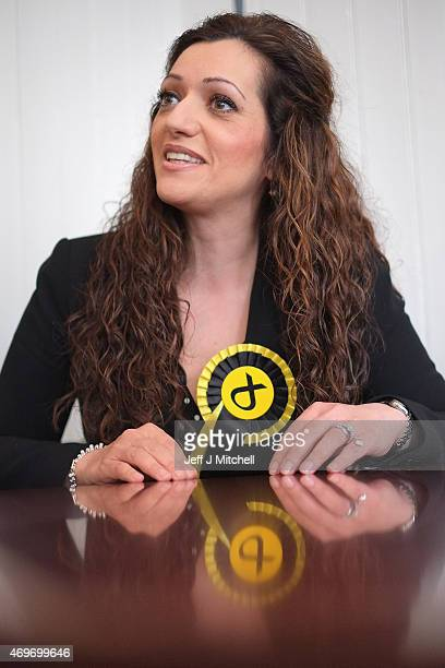 SNP candidate for Perthshire South and Ochil Tasmina Ahmed Sheikh poses for a photo as she canvases in the constituency on April 14 2015 in Crieff...