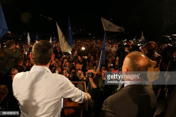 Candidate for Prime Minister from the PAN coalition and leader of the Alliance for Future of Kosovo Ramush Haradinaj and Leader of the Democratic...