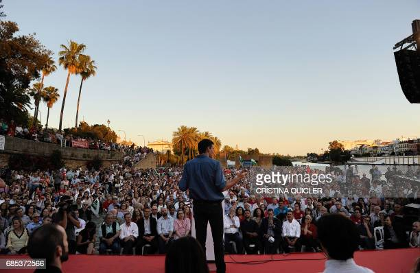 Candidate for Secretary General of the Spanish Socialist Party Pedro Sanchez speaks during a political meeting with supporters at the Muelle de la...