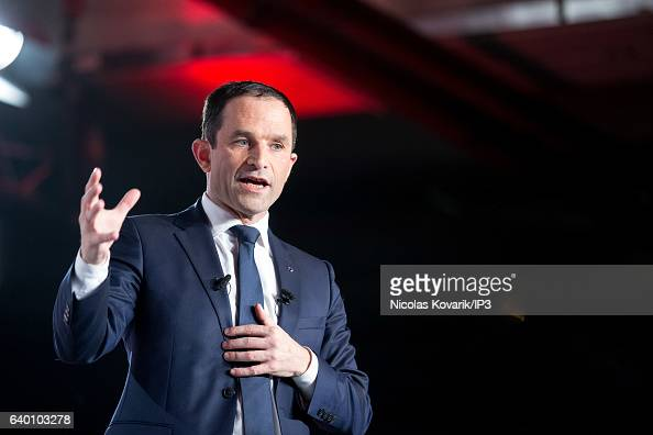 Candidate for the 2017 French Presidential Election Benoit Hamon delivers a speech during his meeting on January 26 2017 in Montreuil France Benoit...