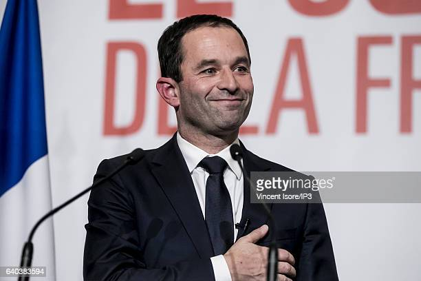 Candidate for the 2017 French Presidential Election Benoit Hamon delivers a speech after the results of the second round of the Primary Election of...