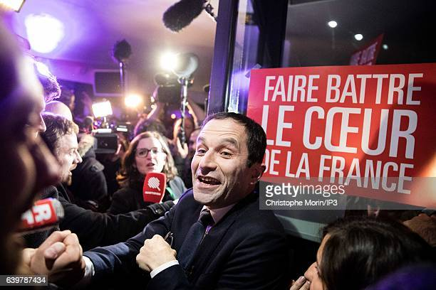 Candidate for the 2017 French Presidential Election Benoit Hamon celebrates his victory with his supporters after the announcement of the results of...