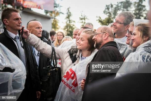 Candidate for the german chancellorship of the Social Democratic Party of Germany Martin Schulz poses for a photo during a campaign rally on...