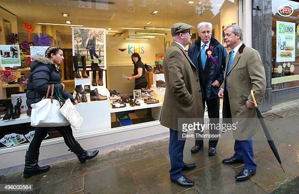 UKIP candidate for the Oldham byelection John Bickley deputy leader Paul Nuttall and party leader Nigel Farage meet before the byelection next month...