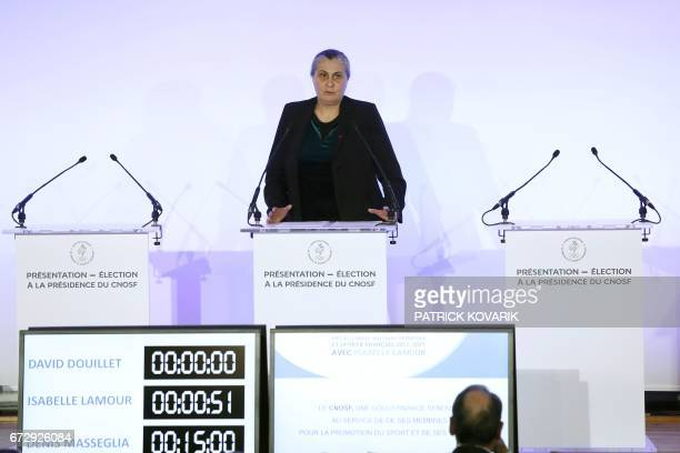 Candidate for the presidency of the French Olympic and Sporting Committee CNOSF Isabelle SpennatoLamour presents her programme at the Maison du sport...