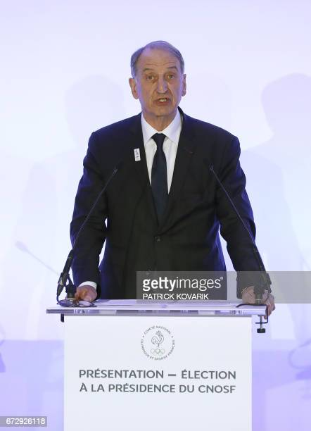 Candidate for the presidency of the French Olympic and Sporting Committee CNOSF Denis Masseglia presents his programme at the Maison du sport...