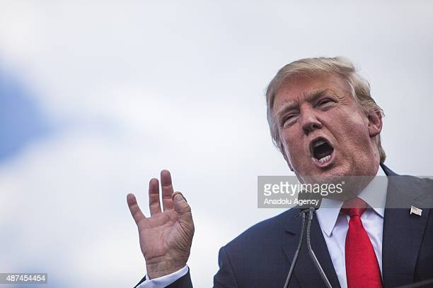 Candidate for the Republican Presidential nomination Donald Trump speaks during a rally held by the Tea Party at the United States Capitol to speak...