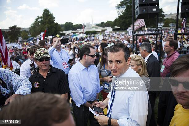 Candidate for the Republican Presidential nomination Senator Ted Cruz gets ready to go on stage to speak at a rally held by the Tea Party at the...