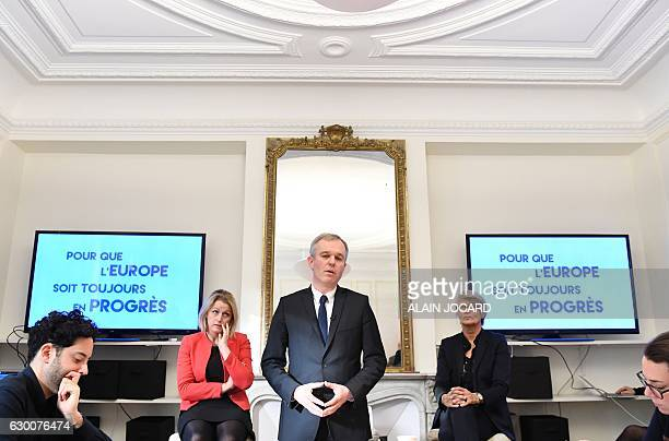 candidate for the socialist party primaries election Francois de Rugy flanked by French Junior Minister for Climate and Biodiversity Barbara Pompili...