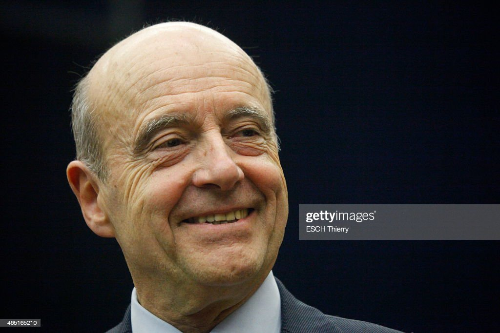 Candidate for the UMP 2016 Primary, <a gi-track='captionPersonalityLinkClicked' href=/galleries/search?phrase=Alain+Juppe&family=editorial&specificpeople=235359 ng-click='$event.stopPropagation()'>Alain Juppe</a> on February 18, 2015 in Olivet, France.
